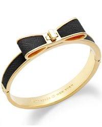 kate spade new york Metallic 12K Gold-Plated Leather Bow Bangle Bracelet