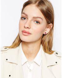 Ted Baker | Pink Tempany Enamel Logo Stud Earrings | Lyst