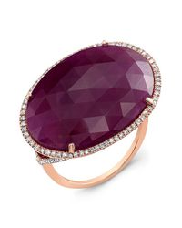 Anne Sisteron | Pink 14kt Rose Gold Oval Ruby Diamond Cocktail Ring | Lyst