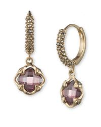 Judith Jack - Purple 10k Gold-plated 925 Sterling Silver, Marcasite And Faux Amethyst Huggie-drop Earrings - Lyst