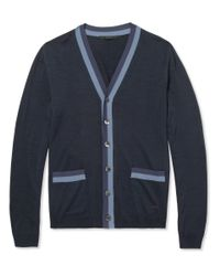 Gucci | Blue Knitted-Silk Cardigan for Men | Lyst