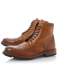Bertie | Brown Cyrus Leather Lace Up Brogue Boots for Men | Lyst