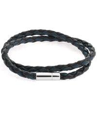 Tateossian - Blue Silver Pop Scoubidou Leather Bracelet - Lyst