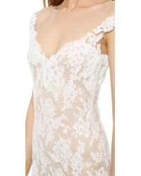 Reem Acra Natural Lace Low Back Gown