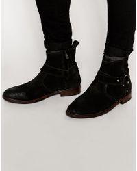 1619749b7ac Men's Biker Boots In Black Suede