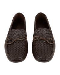 Bottega Veneta - Brown Woven Cervo Leather Moccasin for Men - Lyst