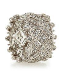 Judith Ripka Metallic Deco Estate Diamond Wide Band Ring