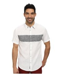 DKNY - Gray Short Sleeve Linen/cotton Chest Stripe Shirt - Casual Wash for Men - Lyst