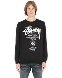 Stussy | Black World Tour Cotton Blend Sweatshirt for Men | Lyst