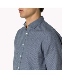 Tommy Hilfiger | Blue Houndstooth Fitted Shirt for Men | Lyst