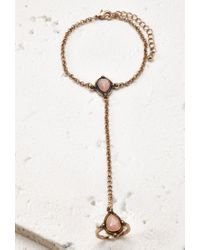 Forever 21 - Metallic Etched Faux Stone Hand Chain - Lyst