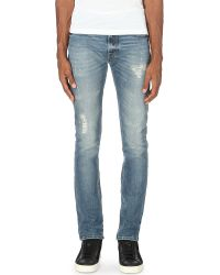 7 For All Mankind Blue Ronnie Bay River Skinny Jeans for men