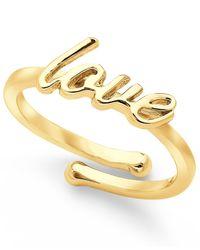 "kate spade new york | Metallic Gold-Tone ""Love"" Adjustable Ring | Lyst"