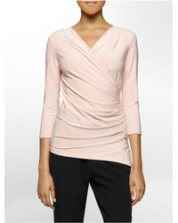 Calvin Klein | Pink White Label Solid Side Ruched High Low 3/4 Sleeve Top | Lyst