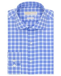Michael Kors - Michael Non-Iron Blue Topaz Check Dress Shirt for Men - Lyst