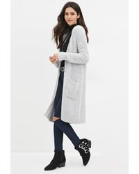 Forever 21 | Gray Open-front Plush Longline Cardigan | Lyst