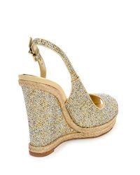 Rene Caovilla - Metallic Crystal Wedge Espadrille Sandals - Lyst