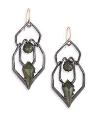 Alexis Bittar Metallic Miss Havisham Kinetic Gun Pyrite Geometric Double-Drop Earrings