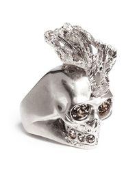 Alexander McQueen Pink Crystal Punk Fish Skull Ring