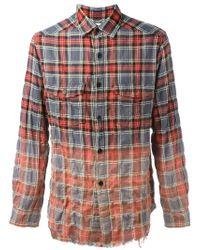 Saint Laurent Red Gradient Plaid Shirt for men