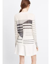 Vince White Abstract Striped Linen Long Sleeve Tee