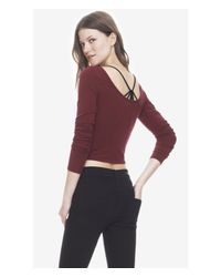 Express Purple One Eleven Long Sleeve Cropped Tee - Berry