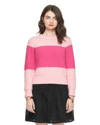 kate spade new york | Pink Chunky Cotton Sweater | Lyst