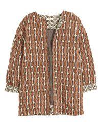 H&M | Brown Jacquard-knit Cardigan | Lyst