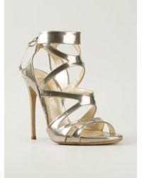 Casadei - Metallic Strappy Stiletto Sandals - Lyst