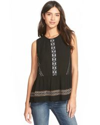 Chloe K | Black Embroidered Peplum Tank | Lyst