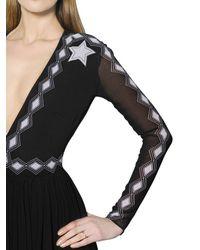 Maria Escoté - Black Printed Layered Techno Chiffon Dress - Lyst