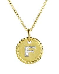 """David Yurman Yellow Cable Collectibles Initial Pendant With Diamonds In Gold On Chain, 16-18"""""""