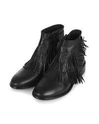 TOPSHOP Black Arid Fringe Ankle Boots