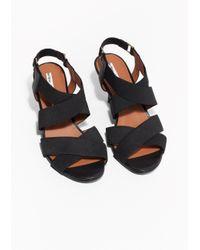 & Other Stories Black Elastic Strap Sandals