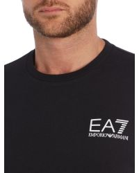 EA7 - Black Logo Crew Neck Regular Fit T-shirt for Men - Lyst