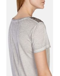 Karen Millen Gray Stud Shoulder T-shirt