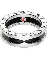 BVLGARI | Metallic Save The Children One-band Sterling Silver And Black-ceramic Ring | Lyst