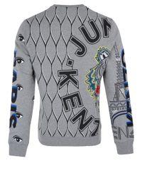 KENZO Gray Grey Multi Print Cotton Sweatshirt for men