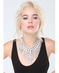 Bebe - Metallic Crystal Choker Necklace - Lyst