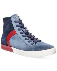 Armani Jeans | Blue Dusty Suede Hi Top Sneakers for Men | Lyst