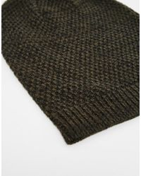 ASOS - Slouchy Beanie In Khaki And Black Texture Twist for Men - Lyst