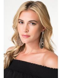 Bebe - Metallic Filigree & Crystal Earrings - Lyst