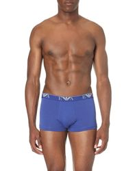 Emporio Armani | Black Pack Of Three Logo Stretch-cotton Trunks for Men | Lyst