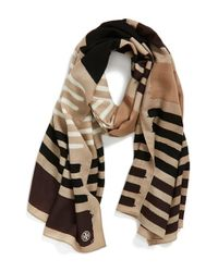Tory Burch - Brown Stripe Wool Scarf - Lyst