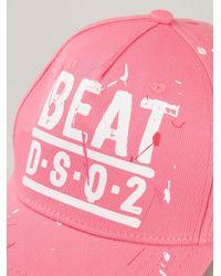 DSquared² Pink Beat Logo Print Baseball Cap for men