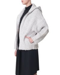 Tibi Natural Boucle Cozy Hooded Cardigan