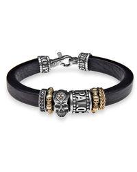 Platadepalo - Metallic Canalla Leather Bracelet With Silver Skull - Lyst