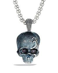 David Yurman - Metallic Waves Skull Amulet with Black Diamonds On Chain for Men - Lyst