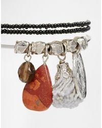 ASOS | Multicolor Pack Of Three Seedbead & Found Charm Bracelets | Lyst