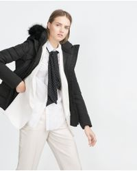 Zara | Black Quilted Coat | Lyst